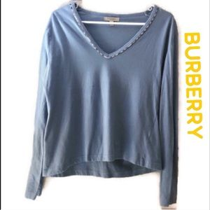Burberry blue long sleeve v neck size Large